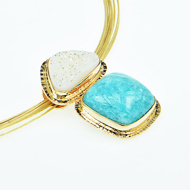 Michael Baksa Amazonite and White Druzy Quartz 14K Gold Pendant