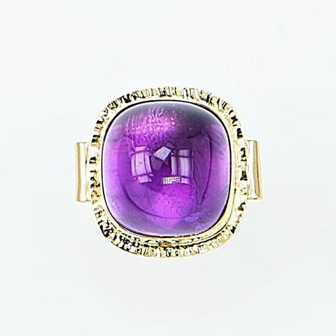 Michael Baksa 14K Gold Large Deep Purple Amethyst Cabochon Ring