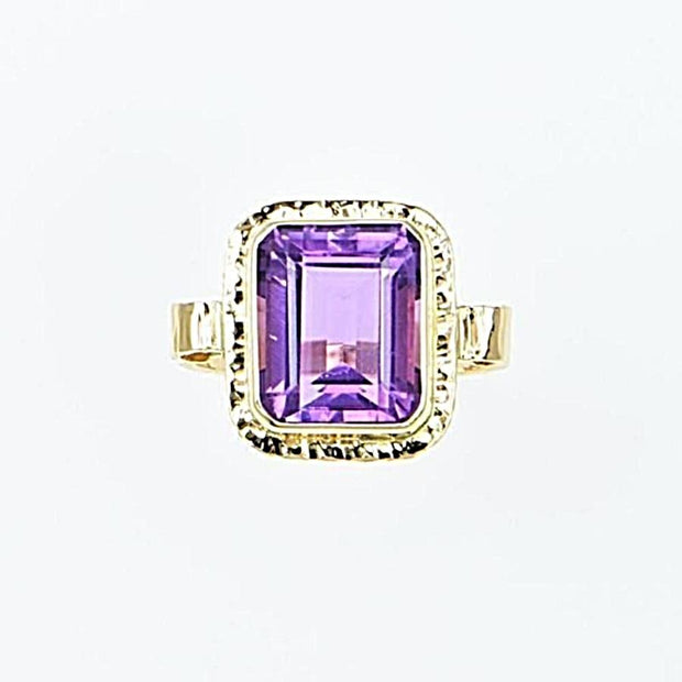 Michael Baksa 14K Gold Large Amethyst Emerald Cut Ring - Aatlo Jewelry Gallery
