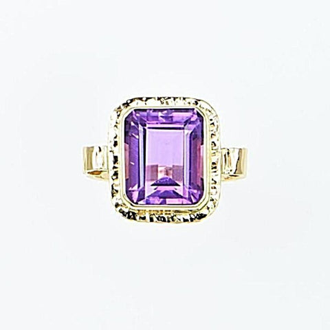 Michael Baksa 14K Gold Large Amethyst Emerald Cut Ring
