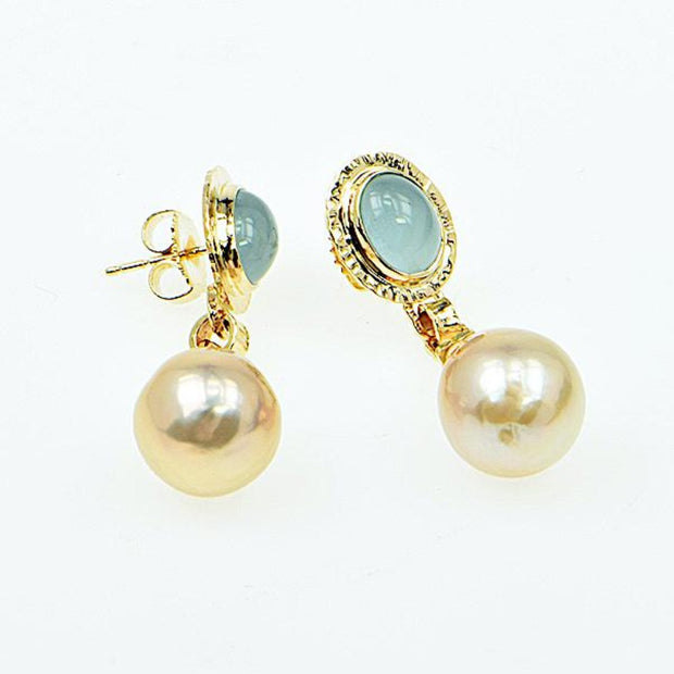 Michael Baksa 14k Yellow Gold Aquamarine and Baroque Pearl Earrings - Aatlo Jewelry Gallery