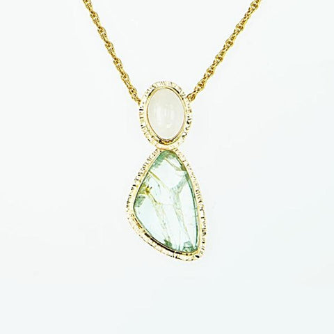 Michael Baksa 14K Gold Large Aquamarine Slice and Moonstone Pendant