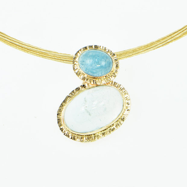 Michael Baksa Natural Blue Topaz and Aquamarine 14K Gold Pendant