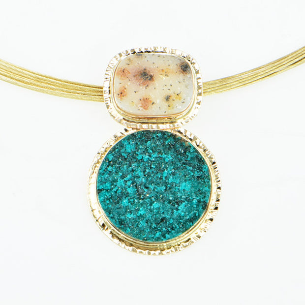 Michael Baksa 14k Yellow Gold Dioptase and White Druzy Pendant - Aatlo Jewelry Gallery