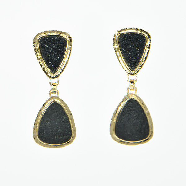 Michael Baksa 14k Yellow Gold Black Druzy and Black Jade Earrings - Aatlo Jewelry Gallery