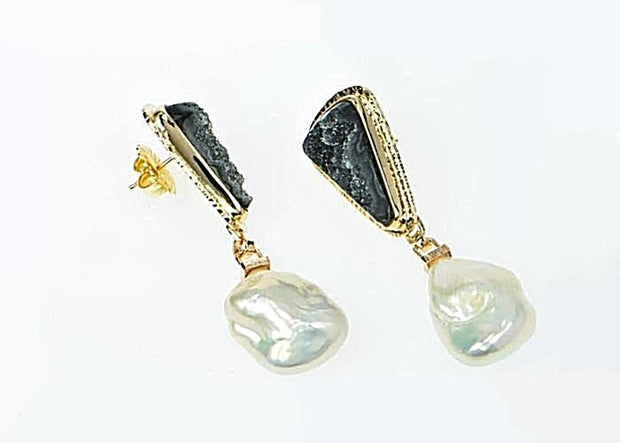 Michael Baksa 14k Yellow Gold Black Druzy and Free Form Freshwater Pearls Drop Earrings - Aatlo Jewelry Gallery