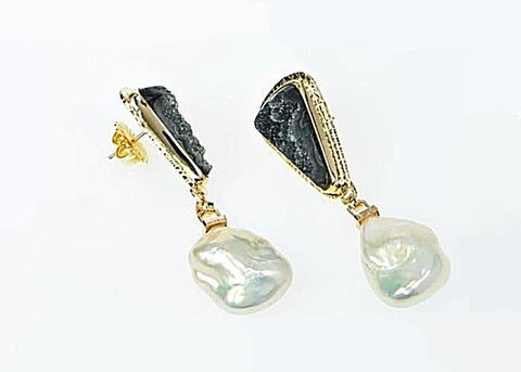 Michael Baksa 14k Yellow Gold Black Druzy and Free Form Freshwater Pearls Drop Earrings