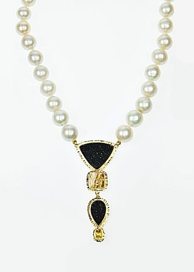 Michael Baksa 14k Yellow Gold Black Druzy And Rutilated Quartz With Yellow Beryl Pearl Necklace - Aatlo Jewelry Gallery