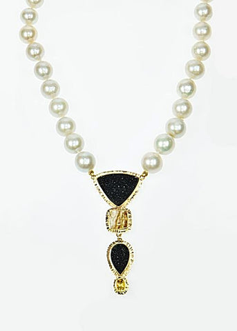 Michael Baksa 14k Yellow Gold Black Druzy And Rutilated Quartz With Yellow Beryl Pearl Necklace