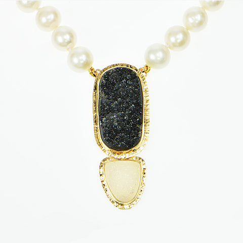 Michael Baksa 14k Yellow Gold Black and White Druzy Pearl Necklace - Aatlo Jewelry Gallery