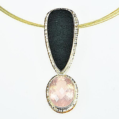 Michael Baksa 14K Gold Large Rose Quartz and Black Jade Pendant