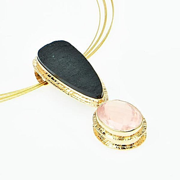 Michael Baksa 14K Gold Large Rose Quartz and Black Jade Pendant - Aatlo Jewelry Gallery
