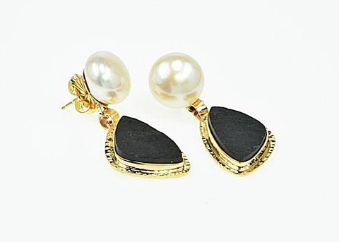 Michael Baksa 14k Yellow Gold Black Jade and Freshwater Pearl Drop Earrings