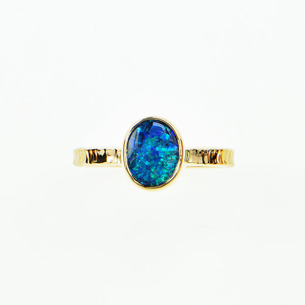 Michael Baksa 14k Black Opal Blue and Green Doublet Gemstone Ring -A