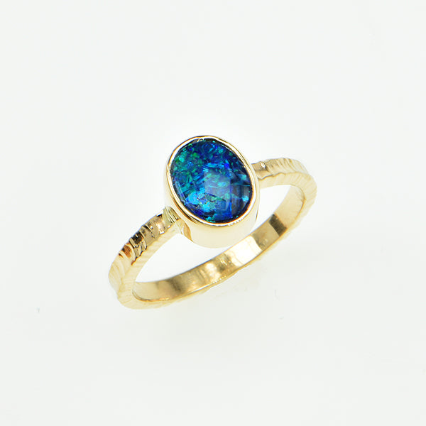 Michael Baksa 14k Black Opal Blue and Green Doublet Gemstone Ring - B