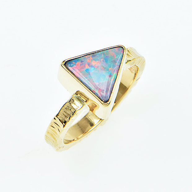 Michael Baksa 14K Gold  Black Opal Doublet Ring - Aatlo Jewelry Gallery