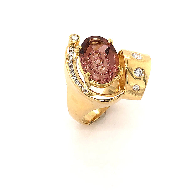 Aatlo/Anderson Blossom Pink Tourmaline and Diamond RIng