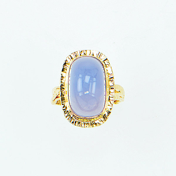 Michael Baksa 14K Gold Lavender Blue Chalcedony Elongated Cabochon Ring - Aatlo Jewelry Gallery