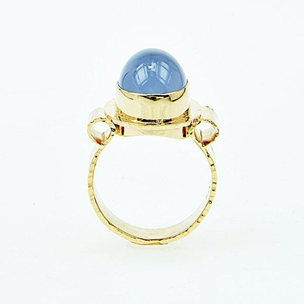 Michael Baksa 14K Gold Sky Blue Chalcedony Oval Cabochon Ring - Aatlo Jewelry Gallery