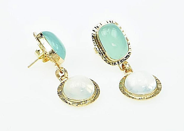 Michael Baksa 14k Yellow Gold Blue Green Chalcedony and Cats-Eye Moonstone Drop Earrings - Aatlo Jewelry Gallery