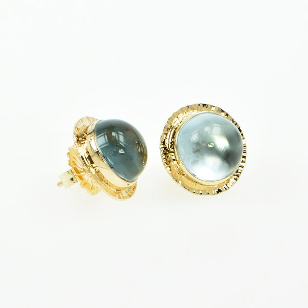 Michael Baksa 14k Natural Blue Topaz Earrings -b