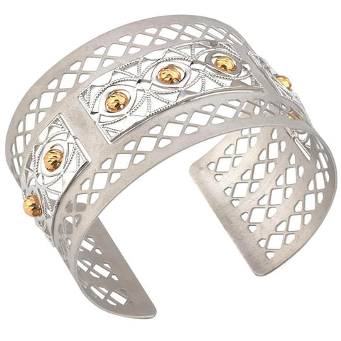 Frederic Duclos Sterling Silver And Gold Plated Trellis Cuff - Aatlo Jewelry Gallery