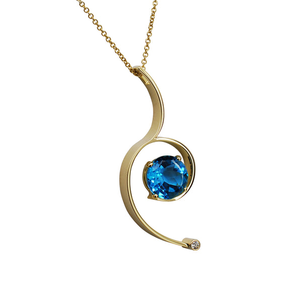 Gordon Aatlo Designs 18k Yellow Gold Blue Topaz & Diamond Pendant