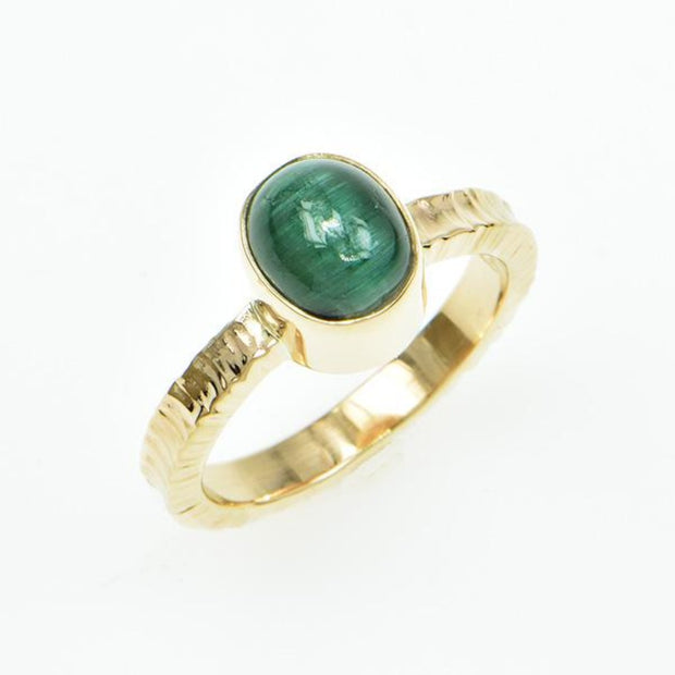 Michael Baksa 14K Gold Green Cats Eye Tourmaline Ring - Aatlo Jewelry Gallery