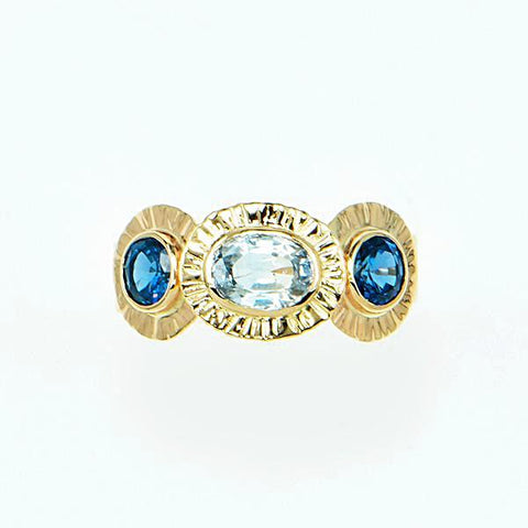 Michael Baksa 14k Yellow Gold Ceylon Blue and Ceylon White Sapphire Ring