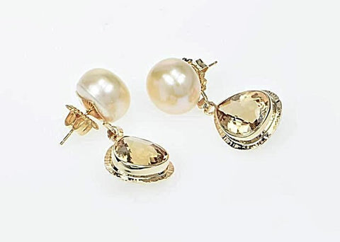 Michael Baksa 14k Yellow Gold Champagne Citrine and Freshwater Pearl Drop Earrings
