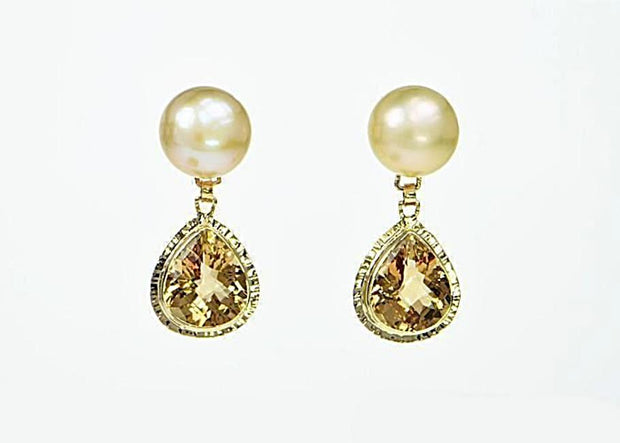 Michael Baksa 14k Yellow Gold Champagne Citrine and Freshwater Pearl Drop Earrings - Aatlo Jewelry Gallery
