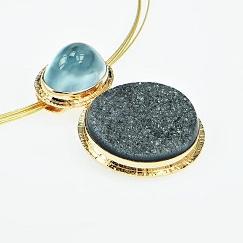 Michael Baksa Natural Blue Topaz and Charcoal Druzy 14K Gold Pendant