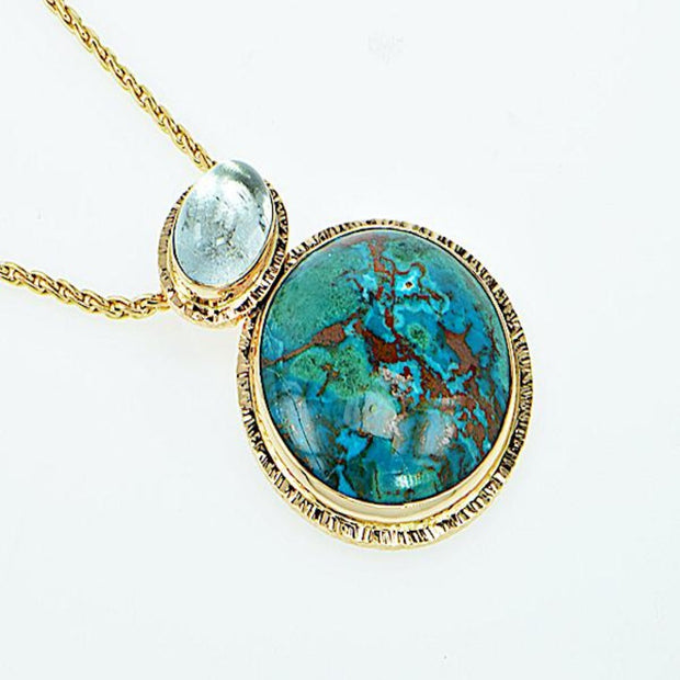 Michael Baksa 14K Gold Chrysocolla and Blue Topaz Pendant - Aatlo Jewelry Gallery