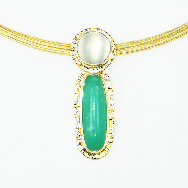 Michael Baksa Chrysoprase and Cats-Eye Moonstone 14K Gold Pendant