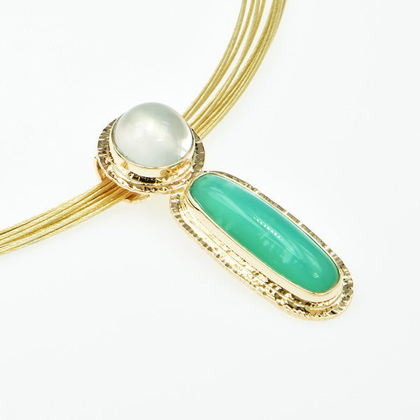 Michael Baksa Chrysoprase and Cats-Eye Moonstone 14K Gold Pendant -b