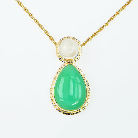 Michael Baksa Emerald Green Chrysoprase and Catseye Moonstone 14K Gold Pendant - Aatlo Jewelry Gallery