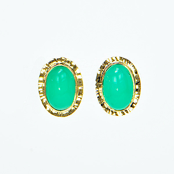 Michael Baksa 14k Yellow Gold Green Chrysoprase Post Earrings - Aatlo Jewelry Gallery