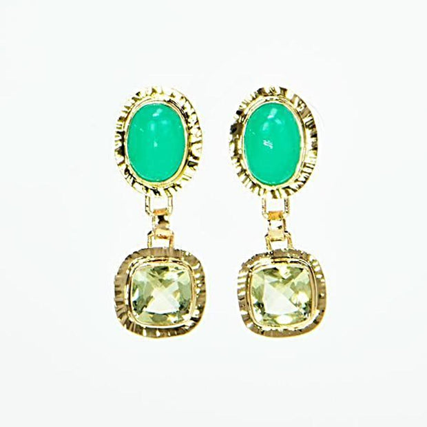 Michael Baksa 14k Yellow Gold Green Chrysoprase and Yellow Beryl Drop Earrings - Aatlo Jewelry Gallery