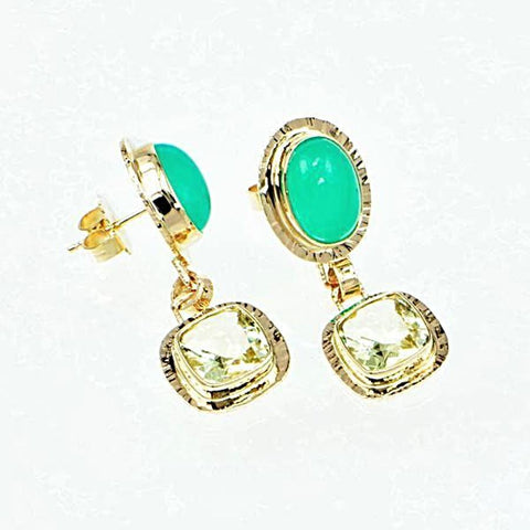 Michael Baksa 14k Yellow Gold Green Chrysoprase and Yellow Beryl Drop Earrings