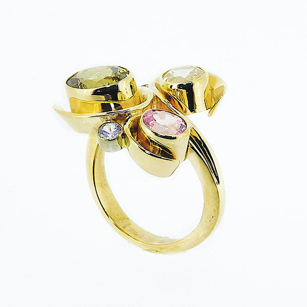 Michael Baksa Chrysoberyl and Ceylon Sapphire 14K Gold Ring - Aatlo Jewelry Gallery