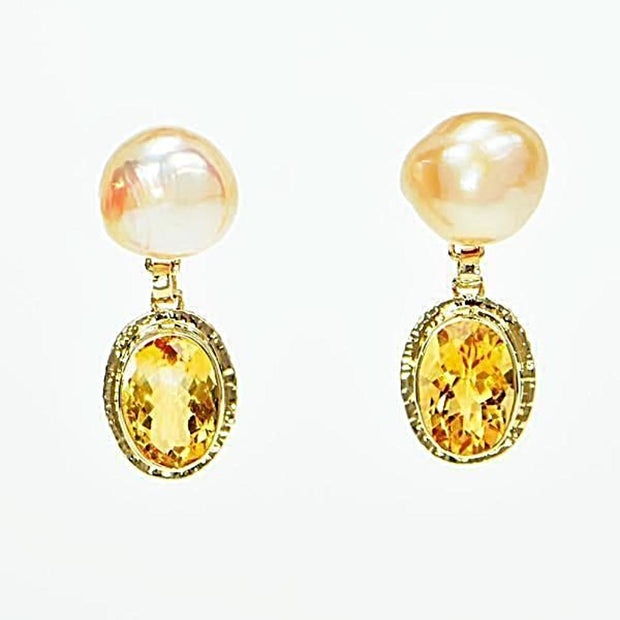 Michael Baksa 14K Gold Citrine and Freshwater Pearl Drop Earrings - Aatlo Jewelry Gallery