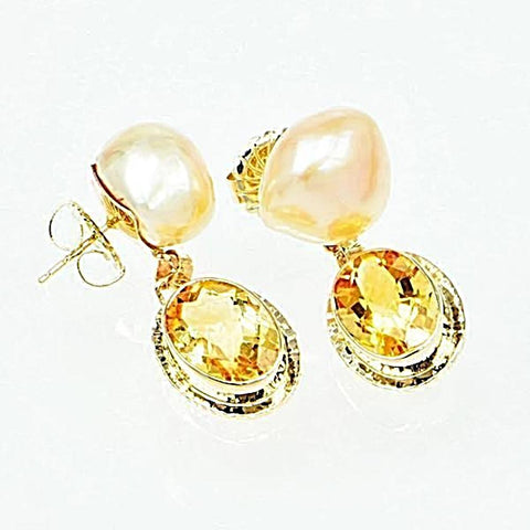 Michael Baksa 14K Gold Citrine and Freshwater Pearl Drop Earrings