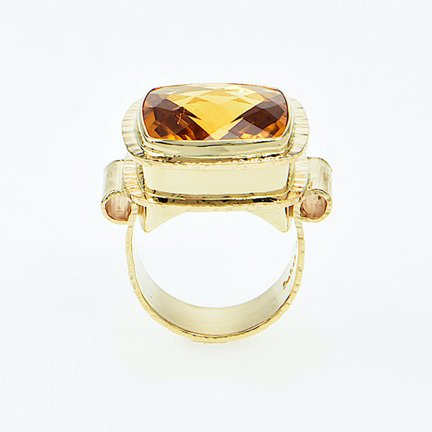 Michael Baksa Large Irai Honey Citrine 14K Gold Ring - Aatlo Jewelry Gallery