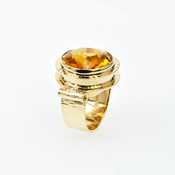 Michael Baksa 14K Gold Honey Citrine Ring -d