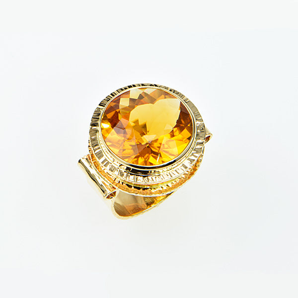 Michael Baksa 14K Gold Honey Citrine Ring -b