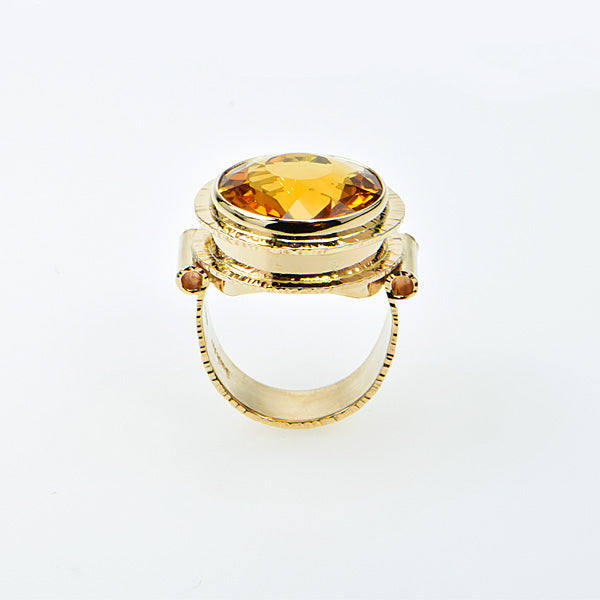 Michael Baksa 14K Gold Honey Citrine Ring -c