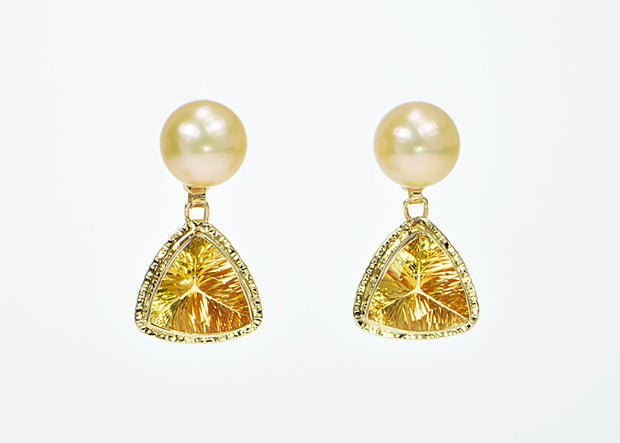 Michael Baksa 14k Citrine and Pearl Drop Earrings