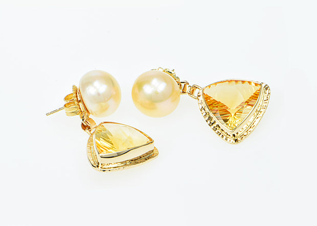 Michael Baksa 14k Citrine and Pearl Drop Earrings -b
