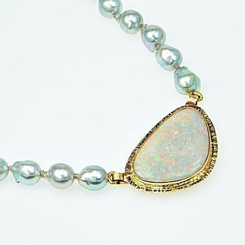 Michael Baksa 14k Yellow Gold Clamshell Opal and Blue Baroque Akoya Pearls Necklace