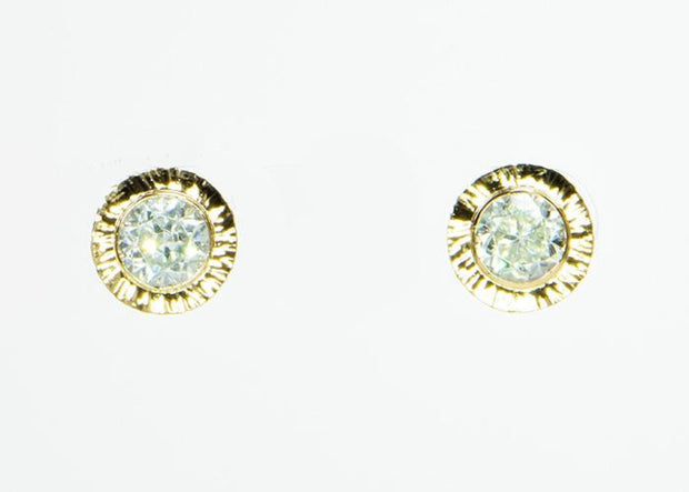 Michael Baksa 14K Yellow Gold Large Natural White Zircon Convertible Earrings - Aatlo Jewelry Gallery